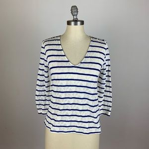 Lucky Brand Blue & White Stripe Lace Blouse